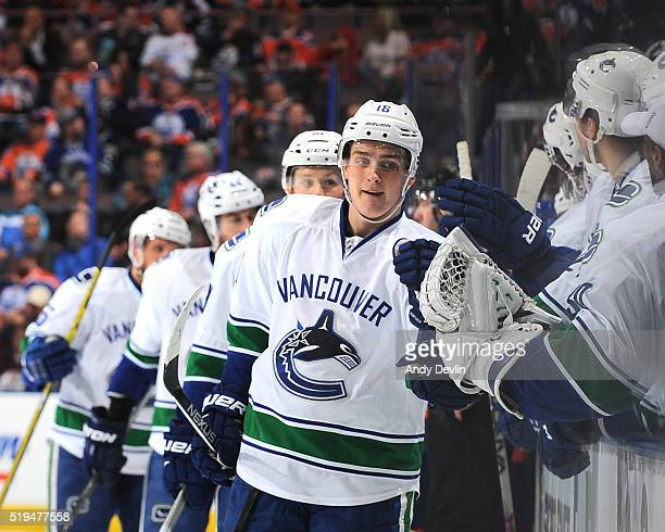 Jake Virtanen of the Vancouver Canucks celebrates after a goal during the game against the Edmonton Oilers on April 6 2016 at Rexall Place in...