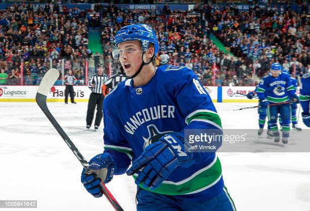 Jake Virtanen of the Vancouver Canucks celebrates after scoring during their NHL game against the Chicago Blackhawks at Rogers Arena October 31 2018...