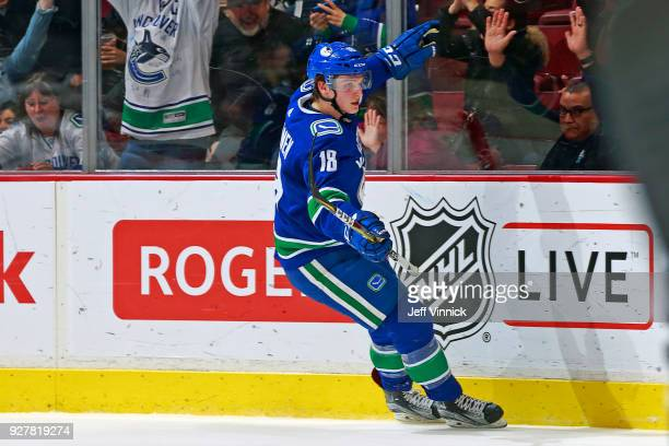 Jake Virtanen of the Vancouver Canucks celebrates after scoring during their NHL game against the New York Islanders at Rogers Arena March 5 2018 in...