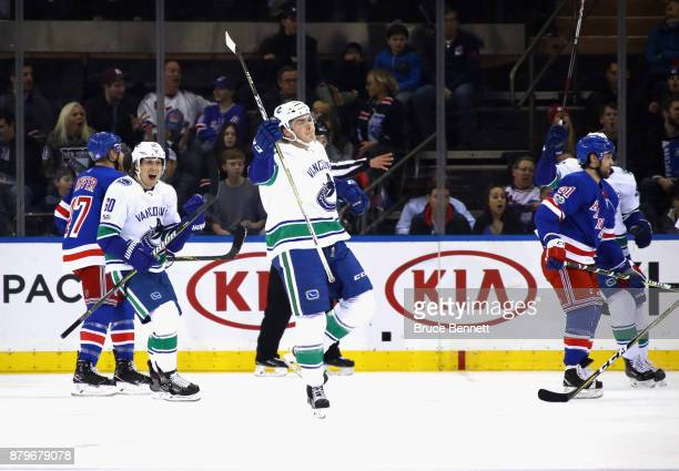 Jake Virtanen of the Vancouver Canucks celebrates his goal at 721 of the second period against the New York Rangers at Madison Square Garden on...