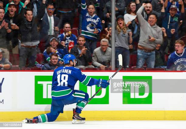 Jake Virtanen of the Vancouver Canucks celebrates his goal during their NHL game against the Calgary Flames at Rogers Arena October 3 2018 in...