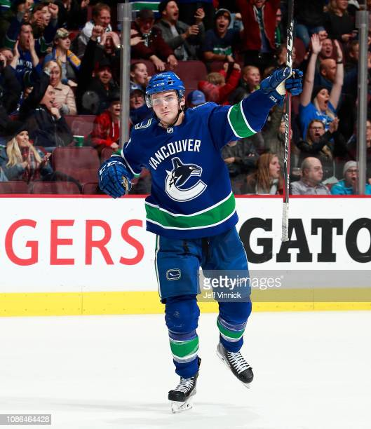 Jake Virtanen of the Vancouver Canucks celebrates his goal during their NHL game against the St Louis Blues at Rogers Arena December 20 2018 in...