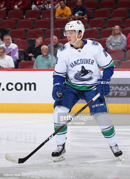 Jake Virtanen of the Vancouver Canucks in action during the NHL game against the Arizona Coyotes at Gila River Arena on October 25 2018 in Glendale...
