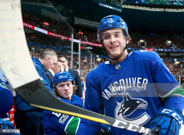 Jake Virtanen of the Vancouver Canucks looks on from the bench during their NHL game against the Philadelphia Flyers at Rogers Arena December 7 2017...