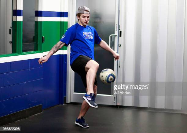 Jake Virtanen of the Vancouver Canucks plays soccer before their NHL game against the San Jose Sharks at Rogers Arena March 17 2018 in Vancouver...