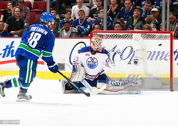 Jake Virtanen of the Vancouver Canucks scores a shootout goal on Cam Talbot of the Edmonton Oilers during their NHL game at Rogers Arena April 9 2016...