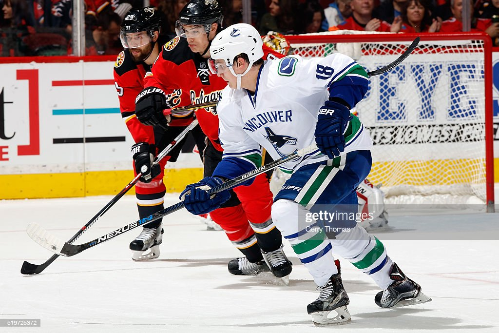 Jake Virtanen #18 of the Vancouver Canucks skates against the Calgary Flames during an NHL game on April 7, 2016 at the Scotiabank Saddledome in Calgary, Alberta, Canada.