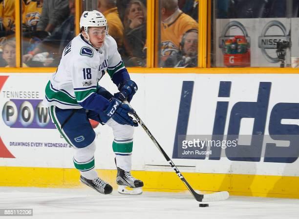 Jake Virtanen of the Vancouver Canucks skates against the Nashville Predators during an NHL game at Bridgestone Arena on November 30 2017 in...