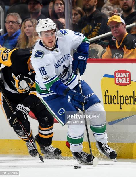 Jake Virtanen of the Vancouver Canucks skates against the Pittsburgh Penguins at PPG Paints Arena on November 22 2017 in Pittsburgh Pennsylvania