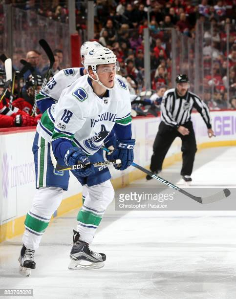 Jake Virtanen of the Vancouver Canucks skates during the first period against the New Jersey Devils on November 24 2017 at the Prudential Center in...