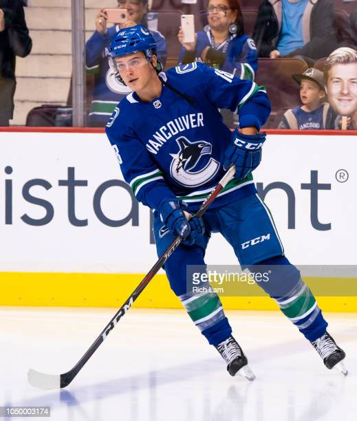 Jake Virtanen of the Vancouver Canucks skates during the pregame warmup prior to NHL action against the Calgary Flames on October 2018 at Rogers...