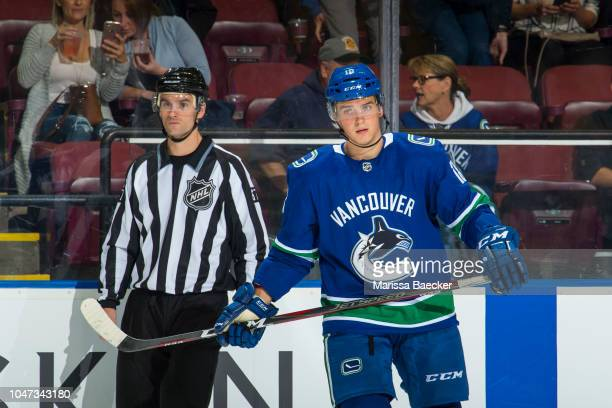 Jake Virtanen of the Vancouver Canucks skates to line up against the Arizona Coyotes at Prospera Place on September 29 2018 in Kelowna Canada