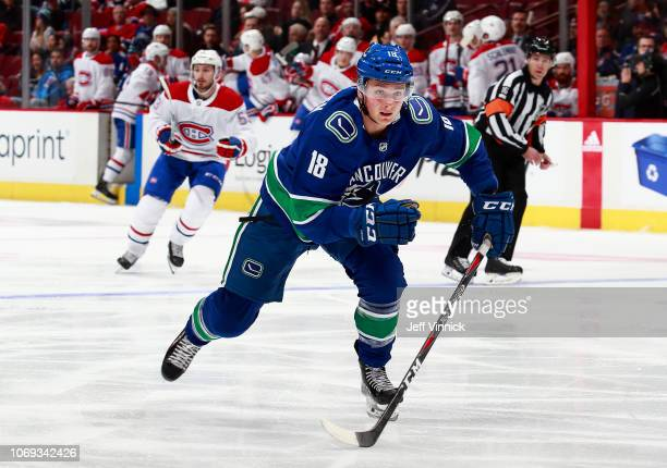 Jake Virtanen of the Vancouver Canucks skates up ice during their NHL game against the Montreal Canadiens at Rogers Arena November 17 2018 in...