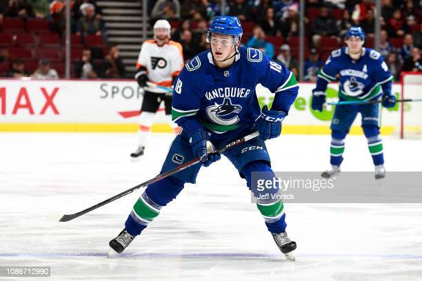 Jake Virtanen of the Vancouver Canucks skates up ice during their NHL game against the Philadelphia Flyers at Rogers Arena December 15 2018 in...