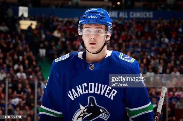 Jake Virtanen of the Vancouver Canucks skates up ice during their NHL game against the Detroit Red Wings at Rogers Arena January 20, 2019 in...