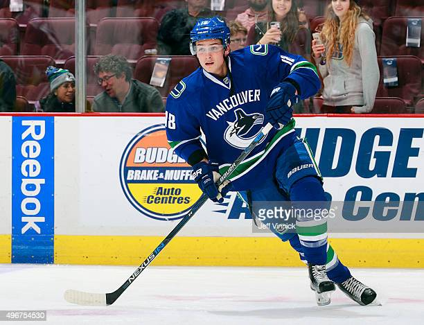 Jake Virtanen of the Vancouver Canucks skates up ice during their NHL game against the Washington Capitals at Rogers Arena October 22 2015 in...