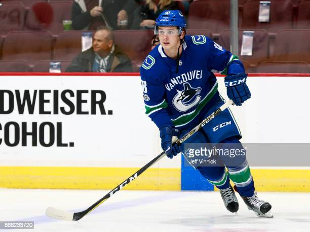 Jake Virtanen of the Vancouver Canucks skates up ice during their NHL game against the Winnipeg Jets at Rogers Arena October 12 2017 in Vancouver...