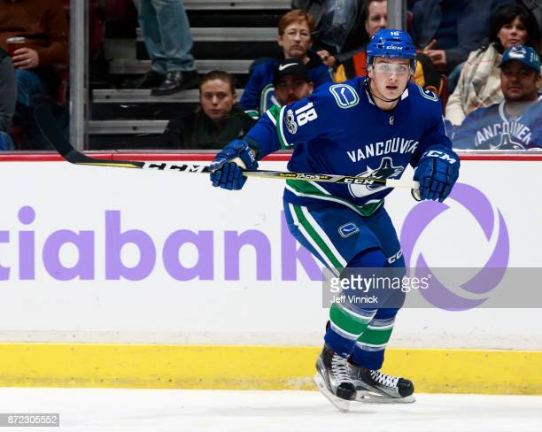 Jake Virtanen of the Vancouver Canucks skates up ice during their NHL game against the Detroit Red Wings at Rogers Arena November 6 2017 in Vancouver...