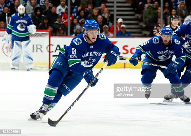 Jake Virtanen of the Vancouver Canucks skates up ice during their NHL game against the Pittsburgh Penguins at Rogers Arena November 4 2017 in...