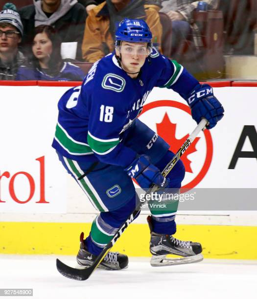 Jake Virtanen of the Vancouver Canucks skates up ice during their NHL game against the Florida Panthers at Rogers Arena February 14 2018 in Vancouver...