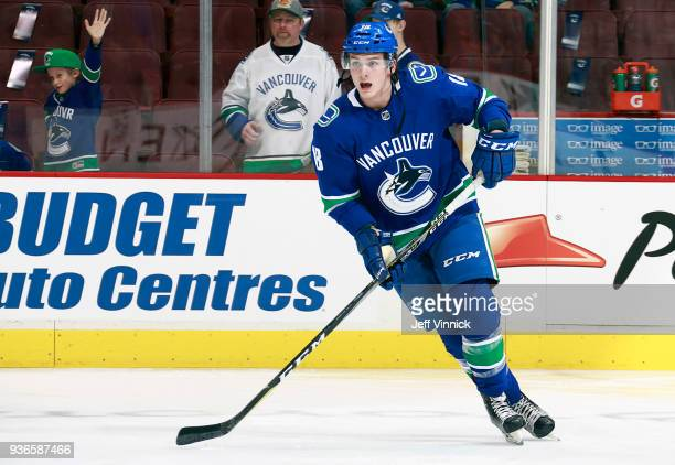 Jake Virtanen of the Vancouver Canucks skates up ice during their NHL game against the Arizona Coyotes at Rogers Arena March 7 2018 in Vancouver...