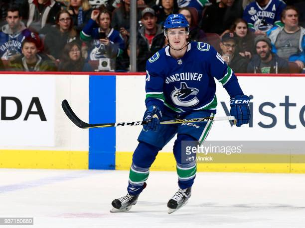 Jake Virtanen of the Vancouver Canucks skates up ice during their NHL game against the New York Islanders at Rogers Arena March 5 2018 in Vancouver...