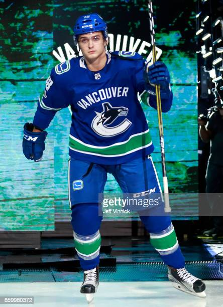 Jake Virtanen of the Vancouver Canucks steps onto the ice during their NHL game against the Edmonton Oilers at Rogers Arena October 7 2017 in...