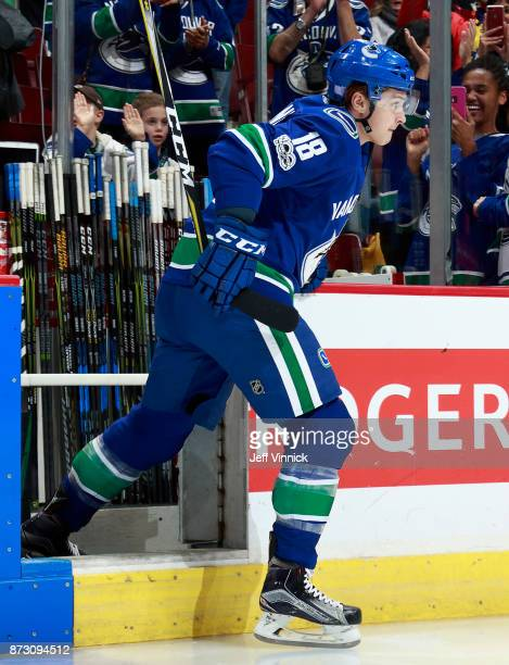 Jake Virtanen of the Vancouver Canucks steps onto the ice during their NHL game against the Pittsburgh Penguins at Rogers Arena November 4 2017 in...