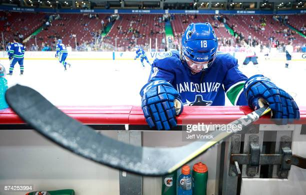 Jake Virtanen of the Vancouver Canucks stretches during their NHL game against the Washington Capitals at Rogers Arena October 26 2017 in Vancouver...