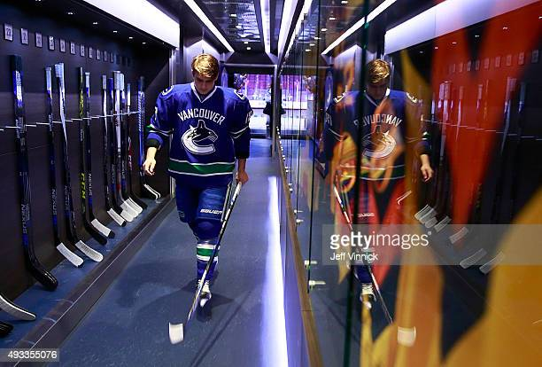 Jake Virtanen of the Vancouver Canucks walks to the dressing room during their NHL game against the Edmonton Oilers at Rogers Arena October 18 2015...