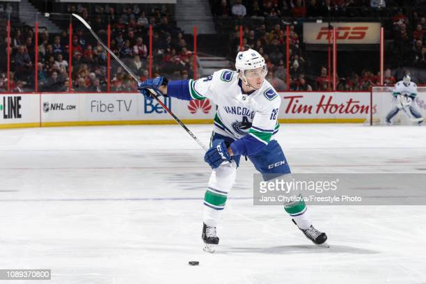 Jake Virtanen of Vancouver Canucks shoots the puck against the Ottawa Senators at Canadian Tire Centre on January 2 2019 in Ottawa Ontario Canada
