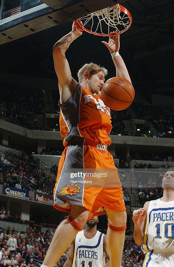 Jake Voskuhl of the Phoenix Suns dunks against the Indiana