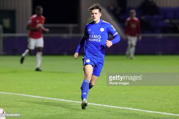 Jake Wakeling of Leicester City during the Premier League 2 match between Leicester City and Manchester United at Leicester City Training Ground, on...