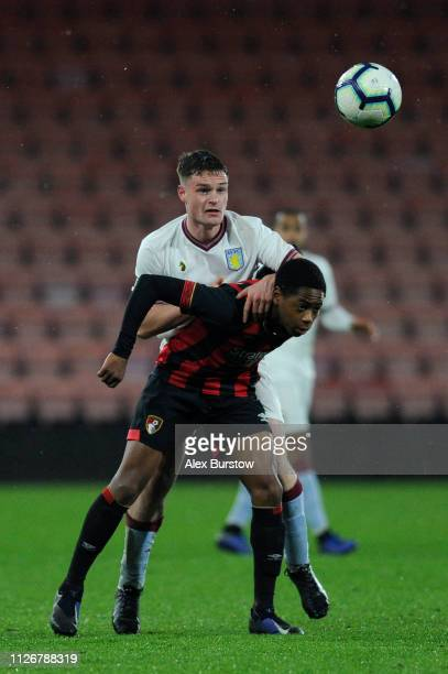 Jake Walker of Aston Villa battles for possession with Nathan MoriahWelsh of AFC Bournemouth during the FA Youth Cup Fifth Round Match between AFC...