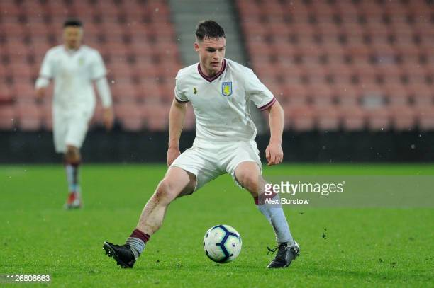 Jake Walker of Aston Villa controls the ball during the FA Youth Cup Fifth Round Match between AFC Bournemouth U18 and Aston Villa U18 at Vitality...