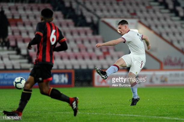 Jake Walker of Aston Villa shoots during the FA Youth Cup Fifth Round Match between AFC Bournemouth U18 and Aston Villa U18 at Vitality Stadium on...