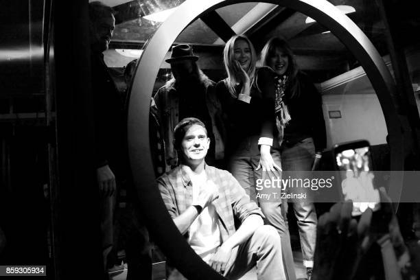 Jake Wardle Michael Horse Amy Shiels and Debbie Zoller pose in the Glass Box during the Twin Peaks UK Festival 2017 at Hornsey Town Hall Arts Centre...