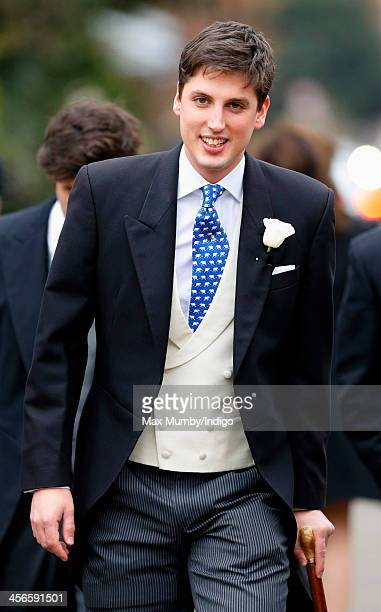Jake Warren arrives at the Wren Chapel in the Royal Hospital Chelsea for his wedding to Zoe Stewart on December 14 2013 in London England
