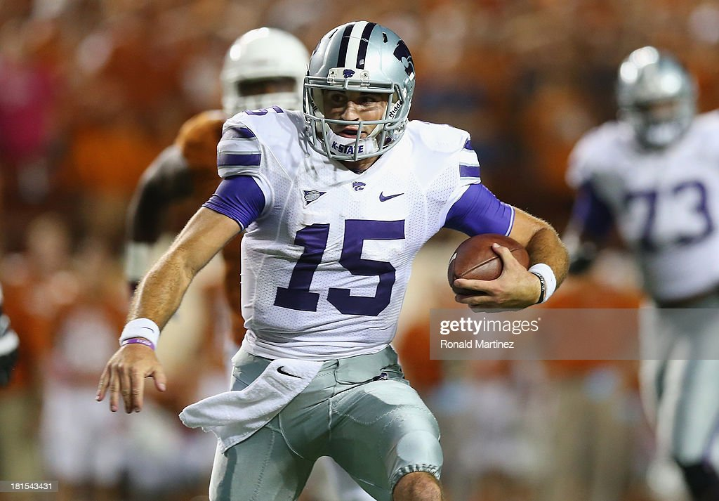 Jake Waters #15 of the Kansas State Wildcats throws against the Texas Longhorns at Darrell K Royal-Texas Memorial Stadium on September 21, 2013 in Austin, Texas.