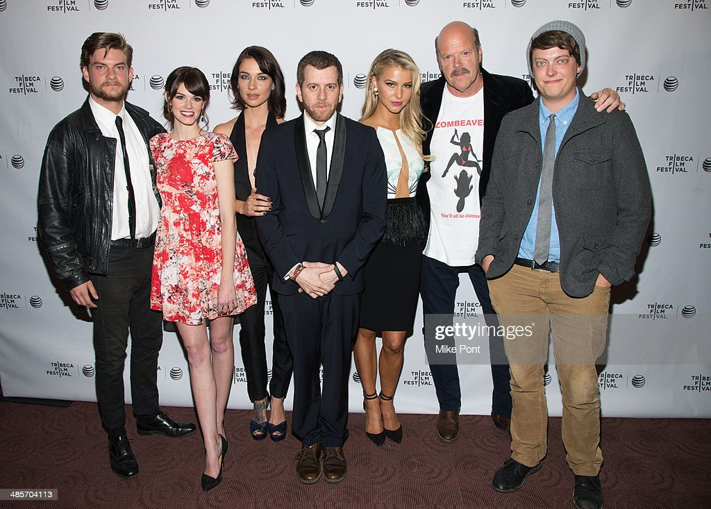 Jake Weary, Rachel Melvin, Cortney Palm, Jordan Rubin, Lexi Atkins, Rex Linn, and Peter Gilroy attend the premiere of 'Zombeavers' during the 2014 Tribeca Film Festival at Chelsea Bow Tie Cinemas on April 19, 2014 in New York City.
