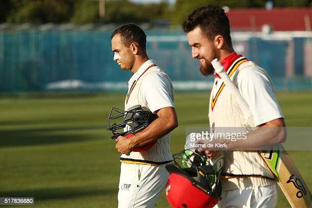 Jake Weatherald and Alex Ross of the Redbacks come from the field at the conclusion of day 3 of the Sheffield Shield Final match between South...