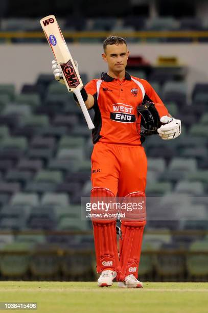 PERTH AUSTRALIA SEPTEMBER 20 Jake Weatherald celebrates his century during the JLT One Day Cup match between South Australia and New South Wales at...