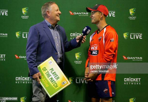 Jake Weatherald of SA gets interviewed by Ian Healy as he wins player of the game during the JLT One Day Cup match between South Australia and New...