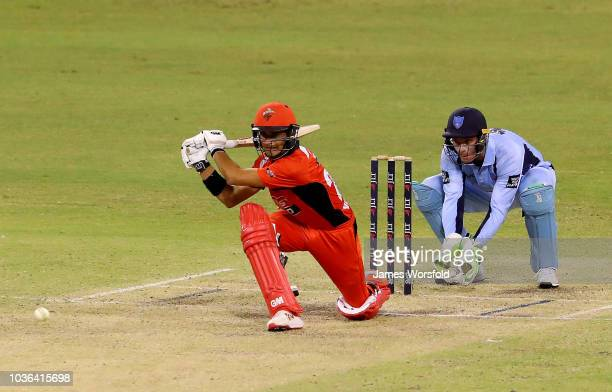 Jake Weatherald of SA goes for a sweep shot during the JLT One Day Cup match between South Australia and New South Wales at the WACA on September 20...