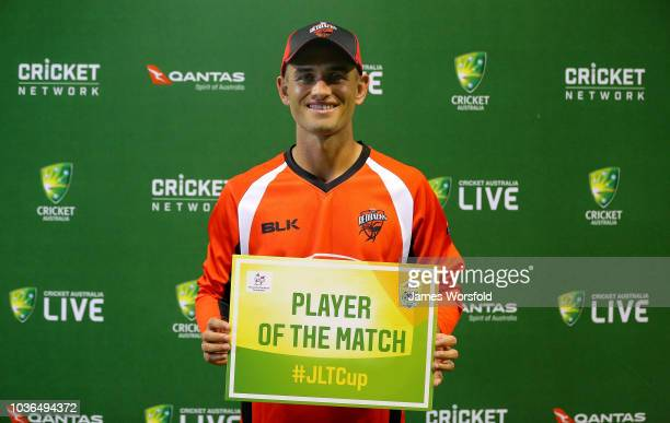 Jake Weatherald of SA wins player of the game during the JLT One Day Cup match between South Australia and New South Wales at the WACA on September...