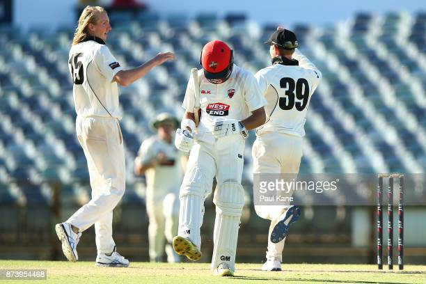 Jake Weatherald of South Australia reacts after being dismissed by David Moody of Western Australia during day two of the Sheffield Shield match...