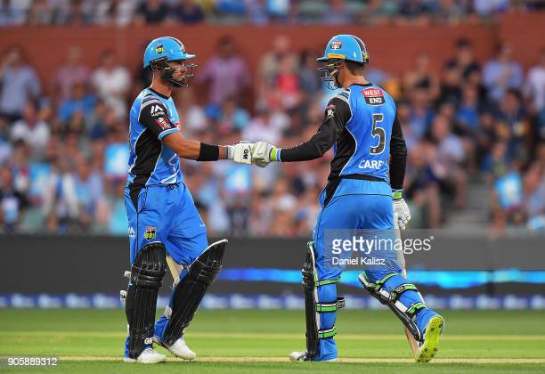 Jake Weatherald of the Adelaide Strikers and Alex Carey of the Adelaide Strikers react during the Big Bash League match between the Adelaide Strikers...