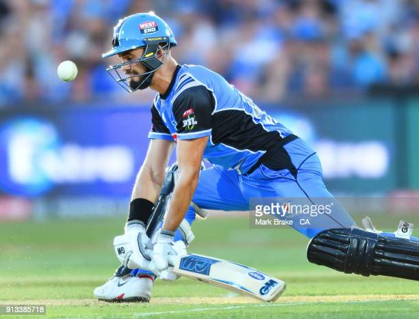 Jake Weatherald of the Adelaide Strikers bats during the Big Bash League match between the Adelaide Strikers and the Melbourne Renegades at Adelaide...