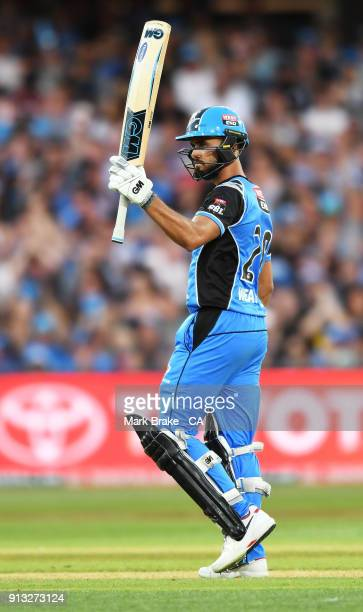 Jake Weatherald of the Adelaide Strikers celebrates after reaching his half century during the Big Bash League match between the Adelaide Strikers...