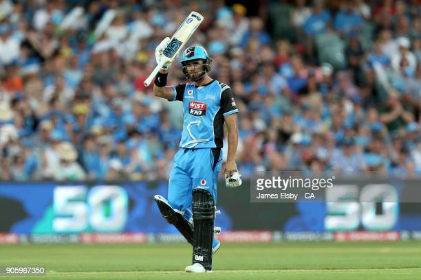 Jake Weatherald of the Adelaide Strikers celebrates his 50 during the Big Bash League match between the Adelaide Strikers and the Hobart Hurricanes...